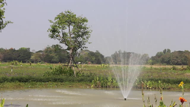 Fountain in outdoor suburb field