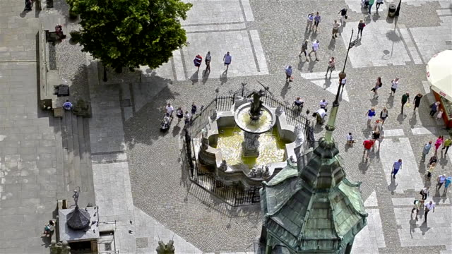 Fountain of Neptune, city-port Gdansk in Poland video