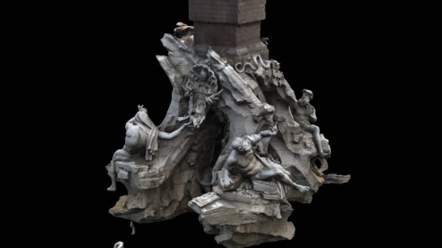Fountain of the Four Rivers - The horse ) 3d animation of a monument in Rome statue stock videos & royalty-free footage