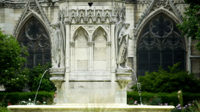 Fountain of the Virgin and Notre Dame de Paris, famous attractions, France video