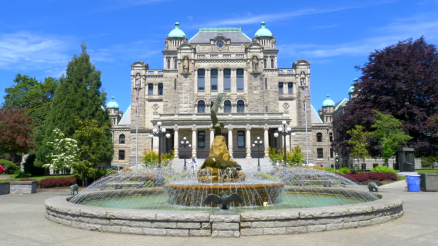 Fountain Slow Motion at Vancouver Island Provincial Legislature BC Canada video