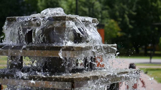 Fountain water flow. video