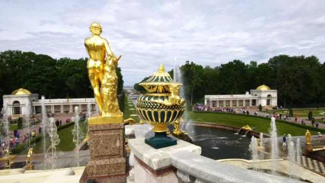 Fountains, sculpture and vase at the Grand Palace park Peterhof, Saint Petersburg, Russia