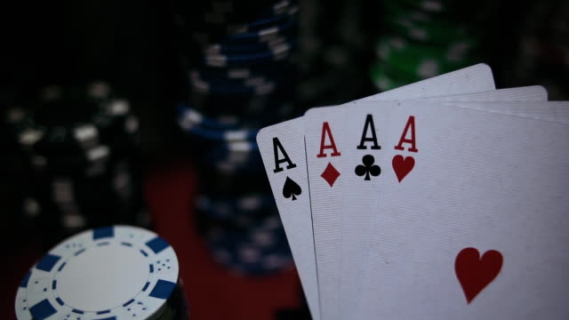 Four Aces On Poker Chips. Poker Table With Chips In Casino video