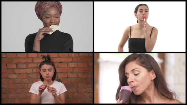 Four charming multiracial woman eating sweets. Collage