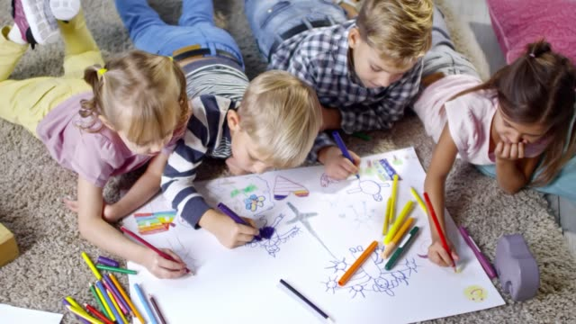Four Children Drawing Beautiful Picture video