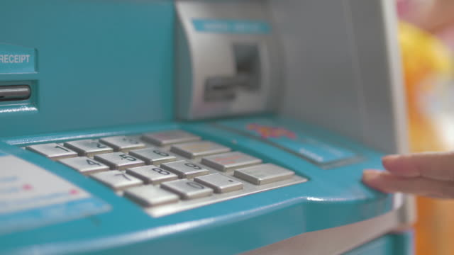 four clips in one clip of insert a debit card - banks and atms stock videos & royalty-free footage