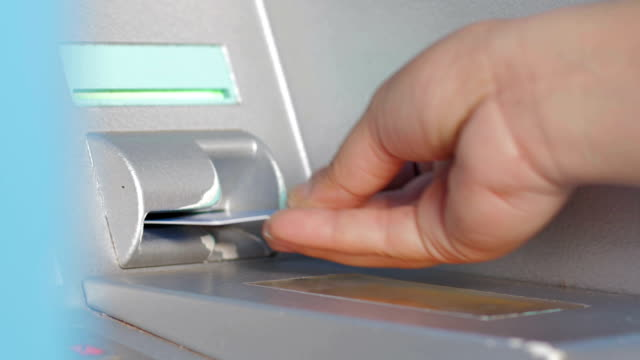 Four clips in one clip of Using ATM Machine,Close-up Four clips in one clip of Using ATM Machine,Close-up banks and atms stock videos & royalty-free footage
