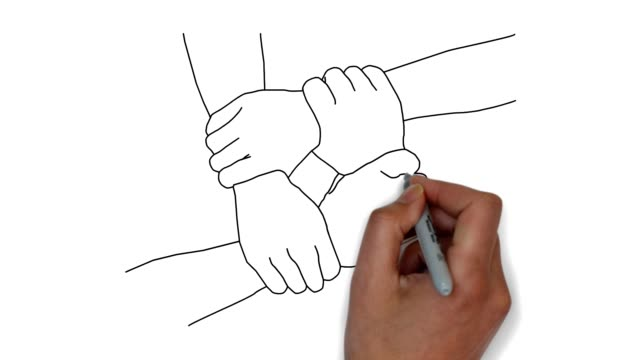 Four different hands hold each other Doodle animation. Hand draw illustration whiteboard visual aid stock videos & royalty-free footage