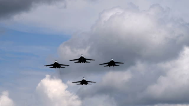 Four fighter planes flying overhead video
