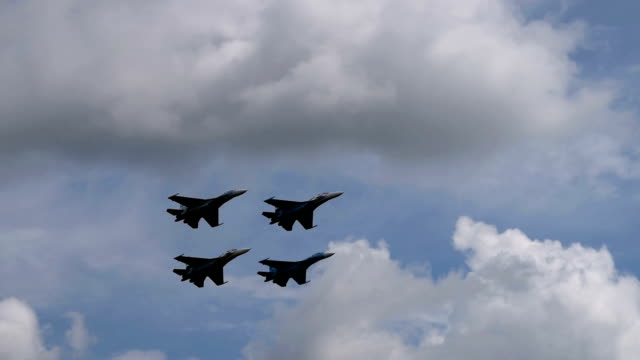 Four fighter planes in blue sky video