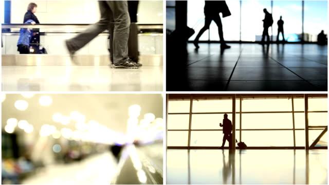 stockvideo's en b-roll-footage met vier in één: luchthaven concept-passagiers volgen op het instappen met bagage naar vliegtuigen - schiphol