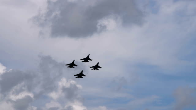 Four jet fighters performing in the air video