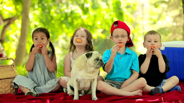 Four Kids have fun eating fruit video
