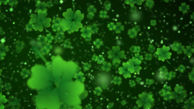Four Leaf Clover Background 4 Leaf Clover. Particles, St Patrick's Day, Nobody, Wallpaper shamrock stock videos & royalty-free footage