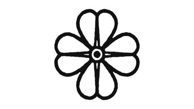 Four Leaf Clover Icon Animation Footage & Alpha Channel