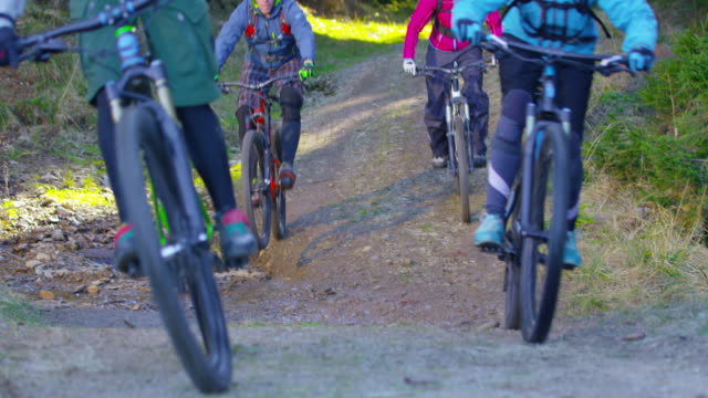 Four mountain bikers going down the forest trail and through a puddle video