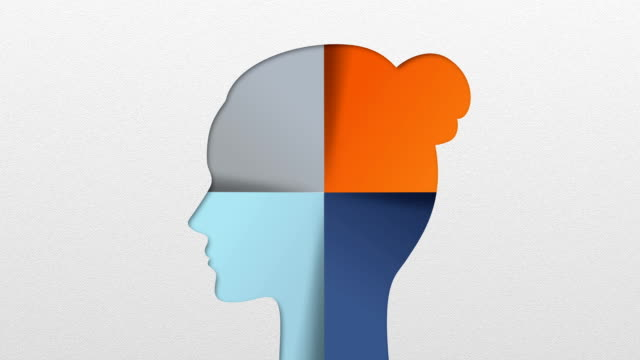 Four result shape of woman head for diagram, presentation templete video