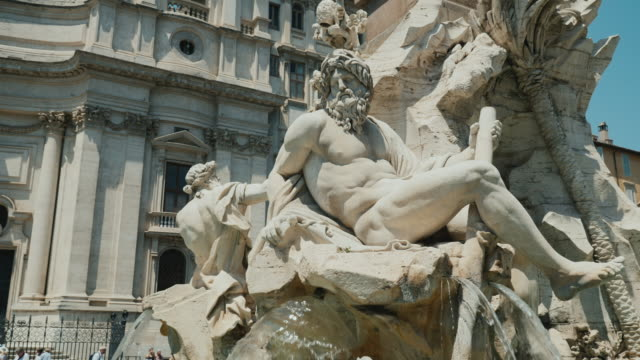 Four Rivers fountain in Piazza Navona in Rome Italy