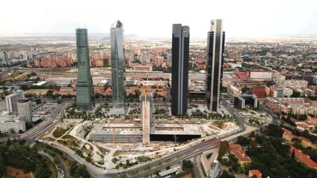 four Towers Business Area (Cuatro Torres) in Madrid Aerial view of four Towers Business Area (Cuatro Torres) in Madrid, Spain sorpresa stock videos & royalty-free footage