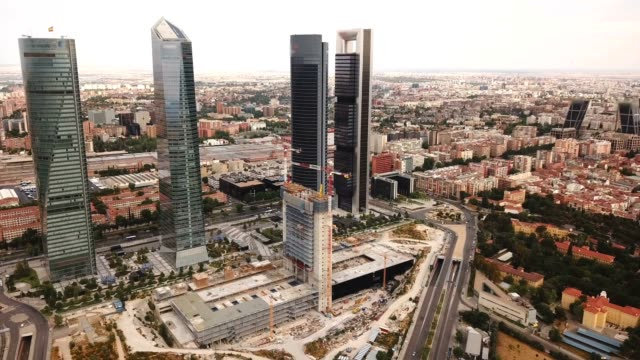 Four towers of the business district in Madrid Four towers of the business district in Madrid. Spain sorpresa stock videos & royalty-free footage