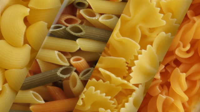 Four types of pasta Four types of pasta uncooked pasta stock videos & royalty-free footage