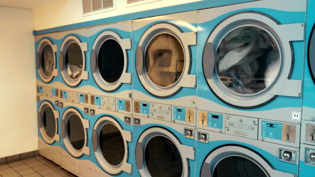 Four videos of self-service laundry - coin wash