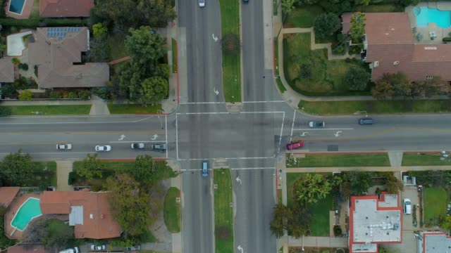 Four Way Intersection - Aerial View