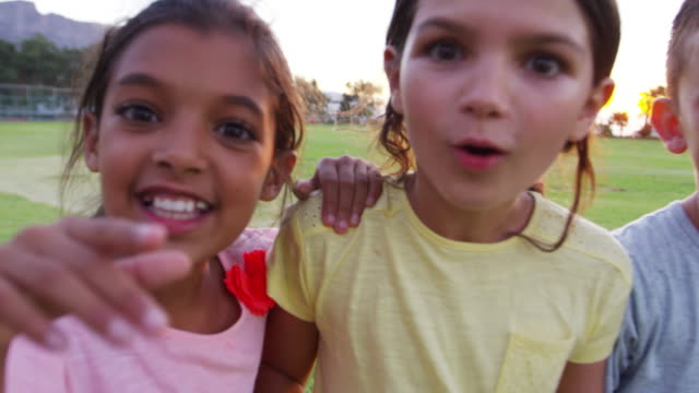 Four young friends smiling to camera in a park at sunset video