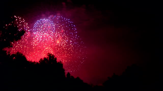Fourth of July fireworks Fireworks over a fourth of July celebration. fourth of july videos stock videos & royalty-free footage