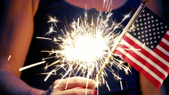 Fourth of July Fourth of July scene with sparklers and the American flag. fourth of july videos stock videos & royalty-free footage