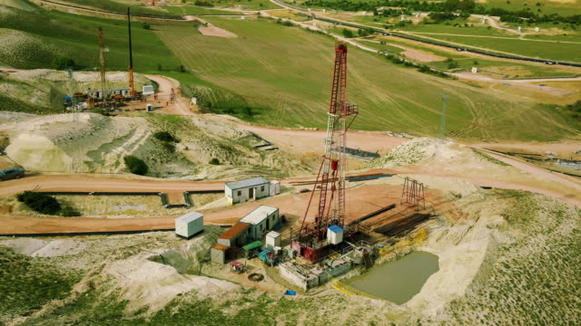 Fracking Drilling Rig - Aerial View