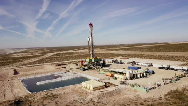 Fracking Drilling Rig at Dusk or Dawn