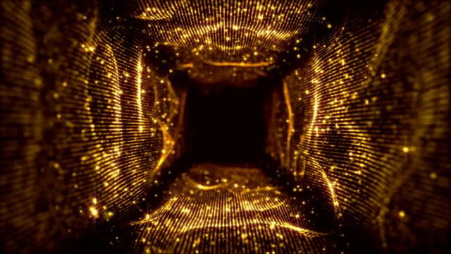 vj フラクタルゴールドライトトンネル。シームレスループ - 連続文様点の映像素材/bロール