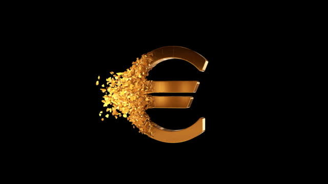 fractured euro value 3d model with disappearing effect. financial crisis concept. - valuta dell'unione europea video stock e b–roll