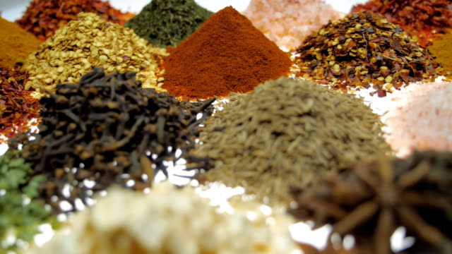 fragrant, aromatic, natural and good for health, spices lie on the table. macro - paprica video stock e b–roll