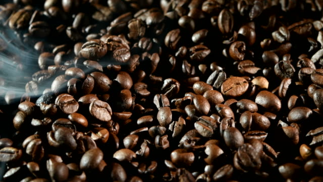 Fragrant coffee beans are roasted