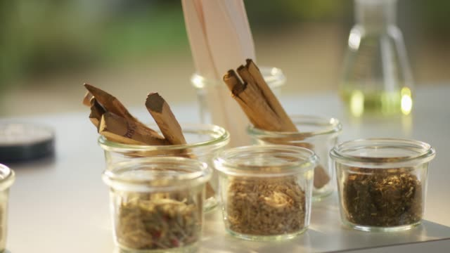 Fragrant collection of wood and spice samples
