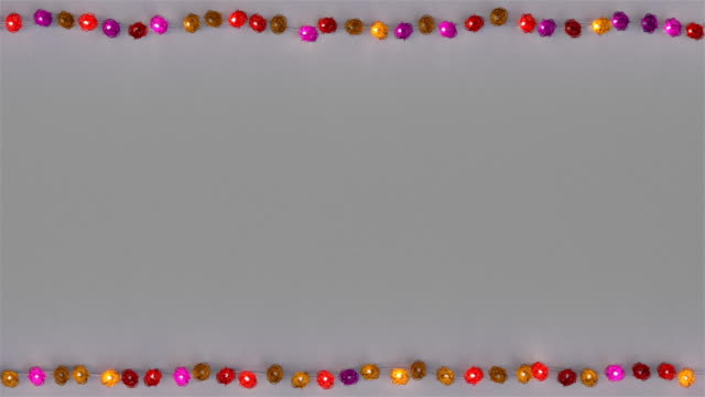 Frame of colorful rotang string lights seamless loop 3D render animation