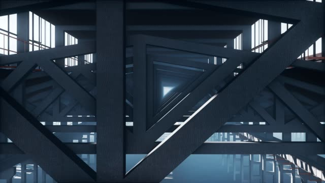 Framework structure industrial background close up Motion inside framework structure made from iron beams with a light in the end of tunnel. Close up view abstract industrial background 3D animation. prop stock videos & royalty-free footage