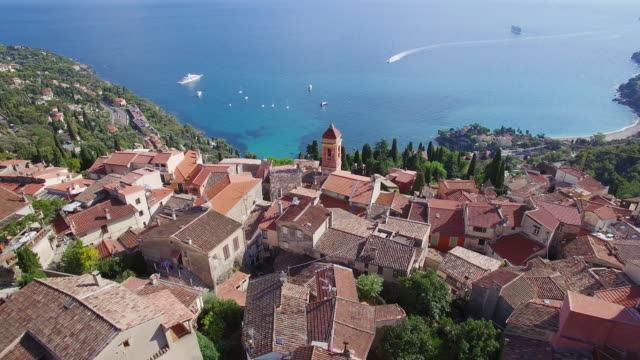France, Aerial view of the hilltop village of Roquebrune Cap Martin