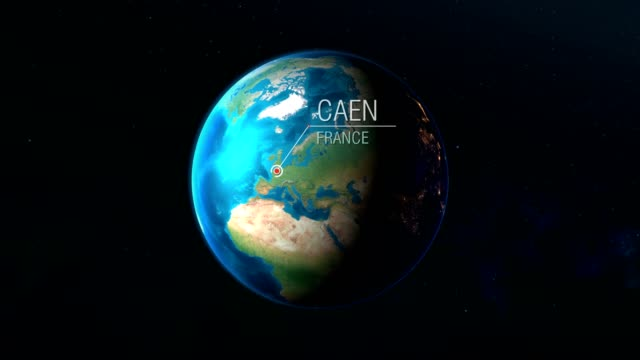 France - Caen - Zooming from space to earth Realistic earth zoom concept animation caen stock videos & royalty-free footage