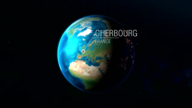 france - cherbourg - zooming from space to earth - manica video stock e b–roll