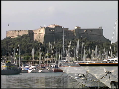 France: Cote d'Azure Castle over Marina, Bay, Harbor, Harbour. Boats video