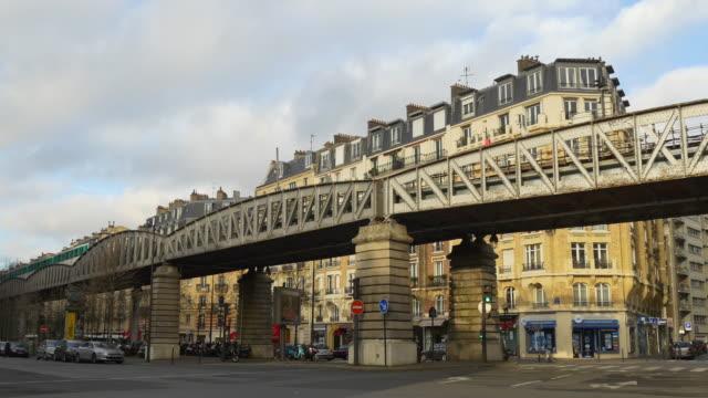 france day time paris city traffic street dupleix metro line panorama 4k video