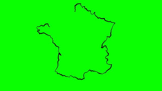 francia disegna mappa contorno su schermo verde lavagna isolata - francia video stock e b–roll