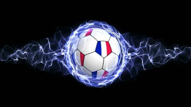 vídeos de stock, filmes e b-roll de frança bola de futebol com bandeira de partículas de azuis abstrato, loop - campeonato esportivo
