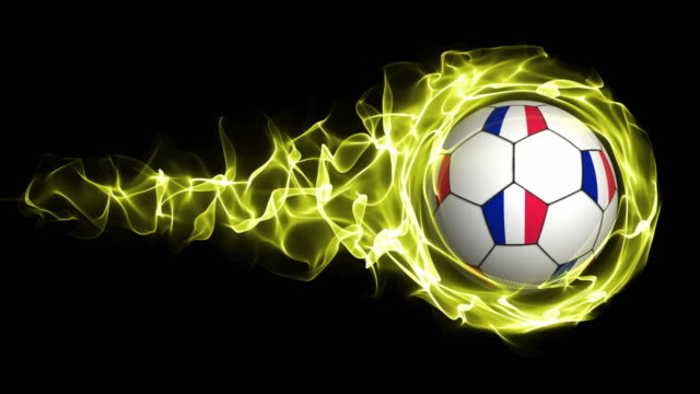 France Flag Soccer Ball in Yellow Flames Abstract Particles  Ring, Loop video