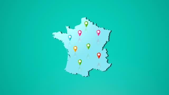 vídeos y material grabado en eventos de stock de 4 k francia mapa y ubicación - francia