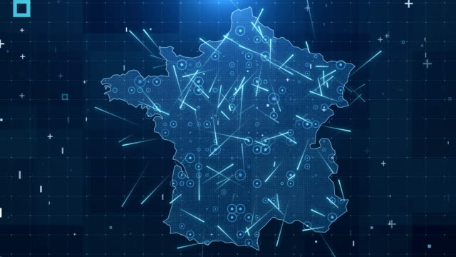 france map connections full details background 4k - francja filmów i materiałów b-roll